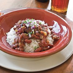 Slow-Cooker Red Beans and Rice -     This delicious meal will be hot and ready when you get home from work. Use instant long-grain rice to put dinner on the table even faster.