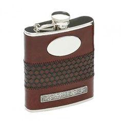 Mullingar Pewter Brown Leather Celtic Hip Flask