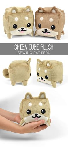 Free sewing tutorial: A cute and chubby plush puppy in cube form! This one's a shiba inu, but it could be lots of other animals too!