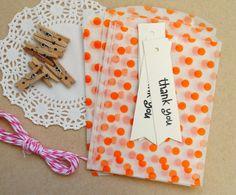 birthday party favor kit. orange mini bags thank you by magdalenarose,