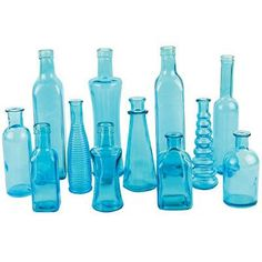Blue Assorted Vintage Bottle Collection 24 per Case - TallShips Alone - US Only Colored Glass Bottles, Blue Bottle, Bottles And Jars, Bottle Art, Bottle Crafts, Mason Jars, Bud Vases, Flower Vases, Mobiles
