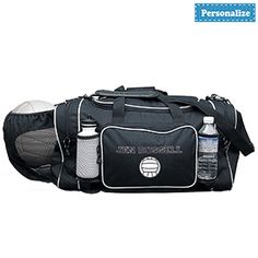 "PERSONALIZED SPORTS BAG - VOLLEYBALL  Product # DC26631  $39.98 CAD - Personalized equipment bag holds and totes all your gear! Balls, shoes, jerseys, water and sports bottles all stow neatly into this roomy, rugged polyester bag. Features U-shaped top zipper opening, elasticized mesh ball pocket, exterior zippered compartments, webbed handles and adjustable shoulder strap. Personalization: 1 line, up to 14 characters. 23""L x 13""H x 12""W"