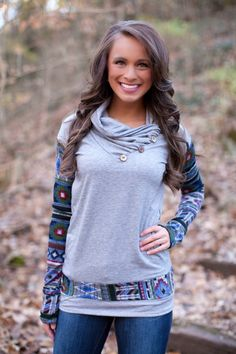 The Pink Lily Boutique - Grey Aztec Accent Sweatshirt, $42.00 (http://thepinklilyboutique.com/grey-aztec-accent-sweatshirt/)