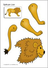 L is for lion Split-pin safari animals (SB10108) - SparkleBox