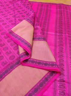 Pink Kanchi Silk Cotton 1000 Butaa With Running Blouse Whatsapp Messenger, Cotton Silk, Running, Blouse, Pink, Fashion, Moda, La Mode, Hot Pink