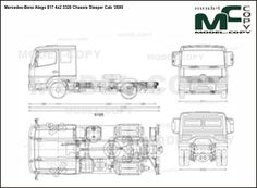 Mercedes-Benz Atego 817 4x2 3320 Chassis Sleeper Cab '2000 - drawing