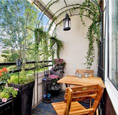 balcony with plants arbor