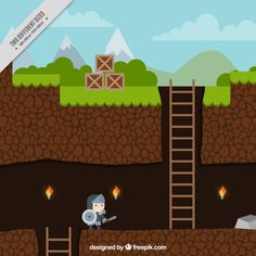 Platform game with a character Free Vector