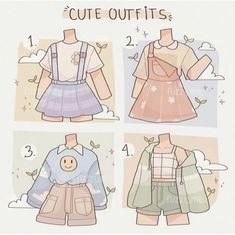 Art Drawings Sketches Simple, Kawaii Drawings, Cute Drawings, Outfit Drawings, Anime Girl Drawings, Drawing Ideas, Cute Art Styles, Cartoon Art Styles, Kleidung Design