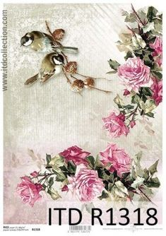 Popular Brand Rice Paper For Decoupage Blue: White Roses Chamomile Flowers Birds Butterfly