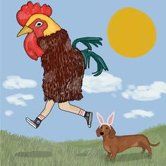 #easter is coming! Rooster, Dog Cat, Cats, Drawings, Illustration, Animals, Gatos, Animales, Animaux