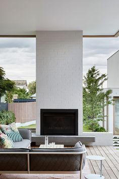 BBW House by Tecture - Project Feature - Architectural Cues in Materiality & Symmetry - The Local Project Residential Architecture, Contemporary Architecture, Interior Architecture, Contemporary Outdoor Fireplaces, Alfresco Area, Elegant Homes, House Front, Modern House Design, New Homes