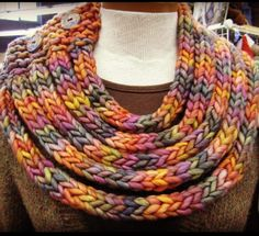 Free Knitting Pattern for Ropes Cowl of I-Cords - Kristina Larson designed this neckwarmer made of i-cords attached to a knitted shoulder piece. Pictured project by Uberknitter
