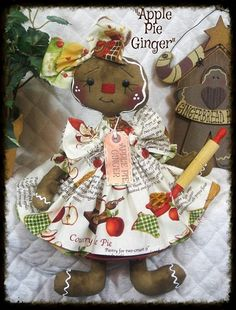 """Primitive Raggedy Gingerbread Doll~""""Apple Pie Ginger""""~"""
