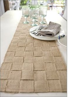 Woven burlap table runner.