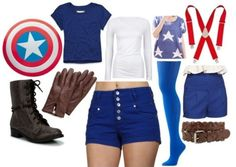 cap cosplay - blue shorts come in handy for wonder woman too