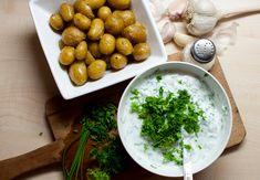 bylinkový dip a nové brambory Chana Masala, Fruit, Ethnic Recipes, Dip, Blog, Salsa, Blogging