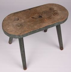 GREAT EARLY PLANK SEAT STOOL IN OLD GREEN PAINT