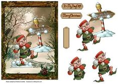 A Christmas Elf throwing snowballs at a Santa's Workshop sign on his day off! Set on a fantasy winter background in a pretty winter frame. With elf decoupage and choice of two sentiments plus a blank for your own message.
