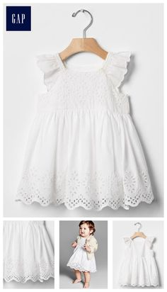 Eyelet flutter dress My twincess has this dress Baby Girl Frocks, Kids Frocks, Frocks For Girls, Little Girl Dresses, Girls Dresses, Toddler Dress, Baby Dress, Baptism Dress Baby, Baby Girl Fashion