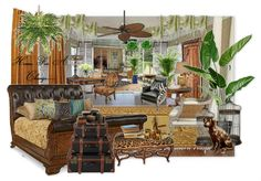 "British Colonial style...rattan, dark woods with a ""touch"" of the tropics (plants,fabrics,texture)"