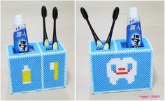 DIY Toothbrush holder perler beads by Peggy Wu - Pattern: https://de.pinterest.com/pin/374291419012761126/