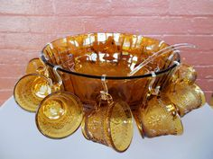 Tiara Indiana Glass Amber Sandwich Punch Bowl & Ladle & Cups & Hooks 26 pc Set #IndianaGlass