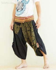 Size M/L Unique Wrap Around Samurai Harem Pants (Green Japanese Spiral)