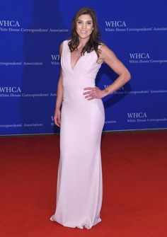 Soccer goalkeeper Hope Solo traded in her uniform for a beautiful blush pink dress as she arrived to the 102nd White House Correspondents' Association Dinner on April 30, 2016.