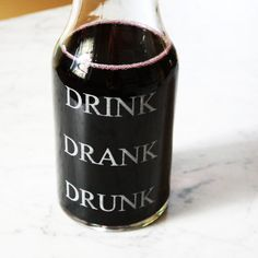 As Seen On The Today Show, Drink Drank Drunk , Etched Glass Wine Carafe for fun home decor or holiday table decor.