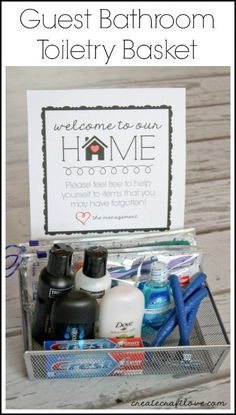 Guest Bathroom Toiletry Basket w/FREE printable - idea for making guests feel at home! via http://createcraftlove.com