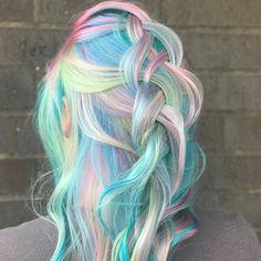 Unicorn Hair Dye Unicorn Hair Color Ideas Bright Blue Base With Rainbow Higbase Cute Hair Colors, Pretty Hair Color, Beautiful Hair Color, Hair Dye Colors, Pastel Hair Colors, Pastel Hair Dye, Bright Colored Hair, Fire Hair Color, Bleach Hair Dye