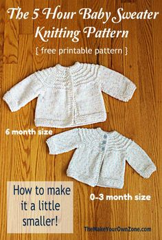 Free knitting pattern for a 5 hour baby sweater. Includes a simple adaptation to make it in a newborn size too! Free knitting pattern for a 5 hour baby sweater. Includes a simple adaptation to make it in a newborn size too! Baby Knitting Free, Baby Cardigan Knitting Pattern Free, Baby Sweater Patterns, Crochet Baby Cardigan, Knit Baby Sweaters, Knitted Baby Clothes, Knitting For Kids, Easy Knitting, Baby Patterns