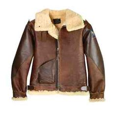 The ultimate collector's 1942 reproduction B-3 shearling flight jacket that is patterned after the early 1942 issue russet colored jacket. The shearling pelts are specially hand selected and matched for authentic vintage coloring. There may be shading on the color just as in the original. Features the single horsehide front patch pocket, horsehide covered reinforced sleeves and shoulder tabs and more. Sizes 54-60 will involve additional costs.