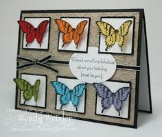"""Papillon Potpourri. Cardstock: Basic Black, Crumb Cake, Whisper White, Real Red, Pumpkin Pie, Daffodil Delight, Lucky Limeade, Tempting Turquoise, Wisteria Wonder Basic Black ink. Fancy Fan embossing folder, Basic Black 1/8"""" Taffeta Ribbon, Extra Large Oval Punch, 1 1/4"""" and 1 3/8"""" Square Punch."""
