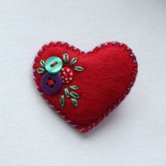 Tiny heart brooch felt and buttons hand by BeadedGardenUK