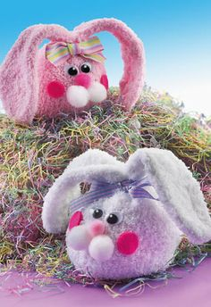 """Sock Beanbag Bunnies  Posted on March 16, 2013  6  Crafts 'n things Craft of the Day       Add some fun to your Easter décor with these adorable beanbag bunnies. They are sure to hop off the Bunny Trail right into your child's heart!    Materials        Fleece or furry sock: pink OR white      Dried rice, two cups      Pom-poms: one large white, two medium white, small pink      White chenille stems, two      Pink felt, scrap      Ribbon, 12"""" length      Wiggle eyes, two    Tools…"""