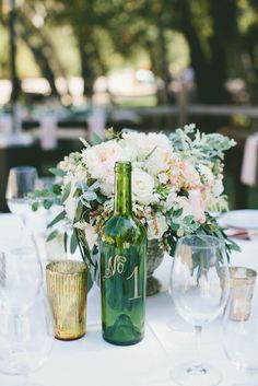 Calligraphed Wine-Bottle Table Numbers | ONELOVE PHOTOGRAPHY | VENUS EVENT DESIGN | http://knot.ly/6493Btx8l | http://knot.ly/6494Btx8m