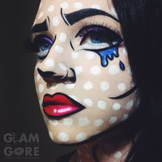 Comic book / Pop art inspired face paint.  For more makeup looks and tutorials: www.instagram.com/Mykie_      www.youtube.com/GlamAndGoreMakeup