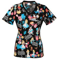 Find Disney Scrubs from Mickey scrub tops to Sleeping Beauty, along with Tinker Bell and Fairy tops. With over 60 different Disney scrubs tops to choose from you are sure to find what you are looking for. Disney Scrubs, Stylish Scrubs, Alice In Wonderland Print, Cute Scrubs, Alice Tea Party, Cherokee Woman, Scrubs Uniform, Medical Scrubs, Veterinary Scrubs