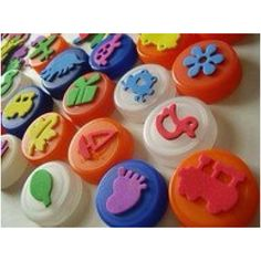 DIY foam stamps. Foam stickers glues to milk jug lids.