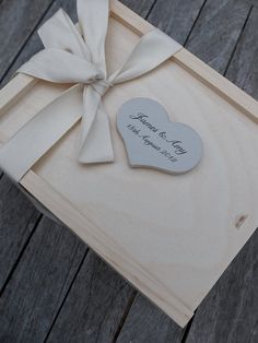 Large Wooden Wedding Keepsake Box & Personalized Heart Nameplate