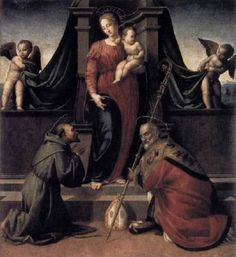 GRANACCI, Francesco (b. 1477, Firenze, d. 1543, Firenze)   Click! Virgin and Child with Sts Francis and Zenobius  c. 1515 Panel, 193 x 174 cm Galleria dell'Accademia, Florence  Granacci imported to Florence directly and rapidly various lessons of Michelangelo's Sistine Chapel frescoes in his panel paintings. In this altarpiece, made for the Girolami Chapel in S. Gallo, the two putti pulling on a drape repeat motifs present in the Sistine vault fresco.
