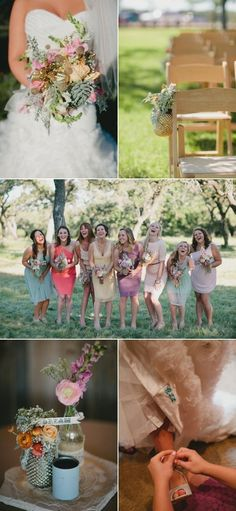 Hill Country Wedding different color bridesmaid dresses