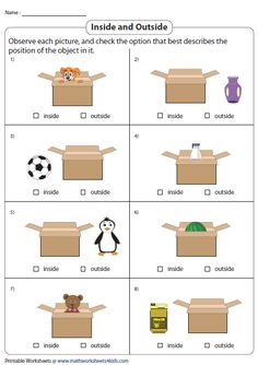 Inside or Outside? Worksheets For Class 1, Math Addition Worksheets, Geometry Worksheets, Printable Preschool Worksheets, English Worksheets For Kids, Grammar For Kids, Math For Kids, Lessons For Kids, Preschool Names