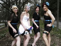 black dresses for bridesmaids with different colored sachets