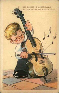 "ITALIAN COMIC Little Boy Playing Cello ""Sia Lodato Il Contrabasso"" Old Postcard"