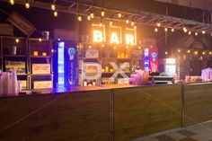 Western Theme Bar - BAR Letters Sign with Edison Light Bulbs in Vintage Ladders by DX Design