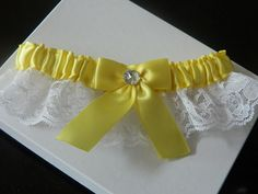 Prom Garter Light Yellow Satin With White Rachel Lace | GartersByMarasa - Wedding on ArtFire