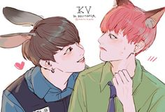 Find images and videos about kpop, bts and jungkook on We Heart It - the app to get lost in what you love. Vkook Fanart, Fanart Bts, Taekook, Zootopia, Yoonmin, Fan Art, Vkook Memes, Bts Memes, Bts Drawings